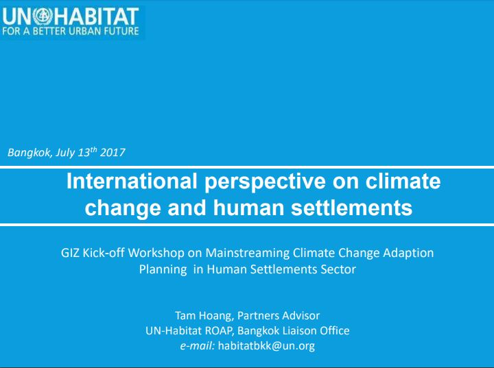 International perspective on climate change and human settlements