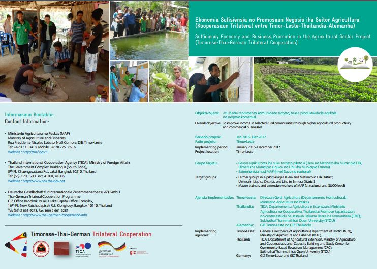 Sufficiency Economy and Business Promotion in the Agricultural Sector Project Brochure