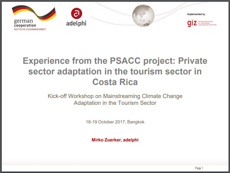 Experience on from private sector adaptation in tourism sector in Costa Rica