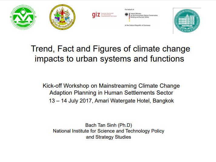 Trend, Fact and Figures of climate change impacts to urban systems and functions