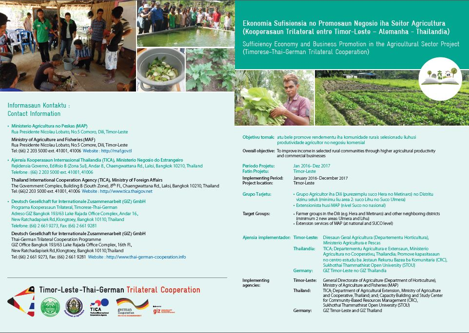 Sufficiency Economy and Business Promotion in the Agricultural Sector Project (Timorese-Thai-German Trilateral Cooperation)