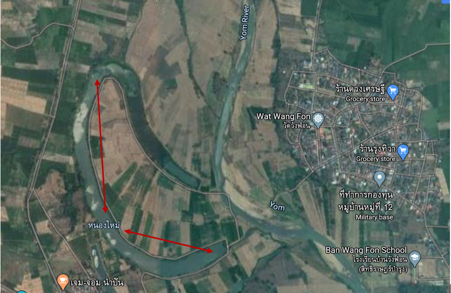 The picture from google map that you can see where Nong Mai retention pond is. There's also Yom River runs along both end of Nong Mai.